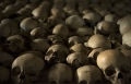 Ntarama Genocide Memorial, skulls lined on a shelf.